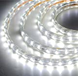 CBConcept® 120VSMD5050-3M-CW 9.9 Feet Cool White 120 Volt High Output LED SMD5050 Flexible Flat LED Strip Rope Light - [Christmas Lighting - Indoor Outdoor rope lighting - Ceiling Light - kitchen Lighting] [Dimmable] [Ready to use] [7 16 Inch Width X 5 16 Inch Thickness]