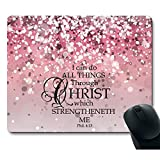 MP Pink Sparkles Glitter Pattern Bible Verse I Can Do All Things Through Christ Who Strengthens Me Philippians 4:13 Pink Gaming Mouse Pad