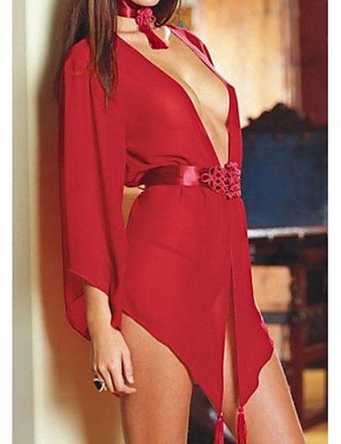 WSS Frauen Sexy Gaze öffnen Transparent Appeal Robe , red-one-size , red-one-size