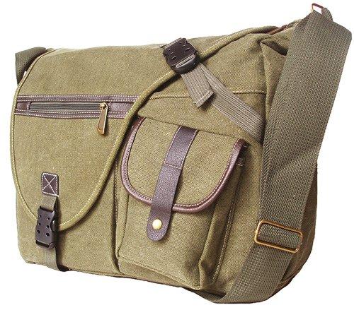 Military Inspired Canvas Messenger Bag Backpack Laptop Bag Khaki Green image