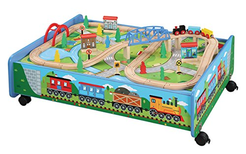 62 piece Wooden Train Set with Train Table / Trundle - BRIO and Thomas & Friends Compatible
