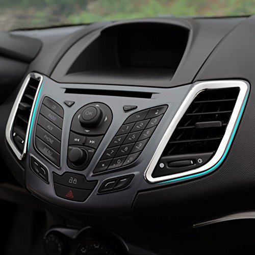 9 MOON® Stainless Steel Car Outlet Sticker Decoration Ring Center Control Panel Frame Trim fit Ford Fiesta 2009-2015