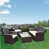Garten-Loungemöbel-Set, braun 2 Sessel 1 Bank 1 Tisch