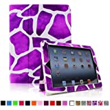 Fintie Folio Case for iPad 4th Generation with Retina Display, the New iPad 3 & iPad 2 Slim Fit Stand Smart Cover with Auto Sleep / Wake Feature - Giraffe Purple