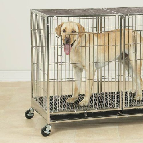 Proselect Stainless Steel X-Tall Modular Dog Cage With Tray front-17475