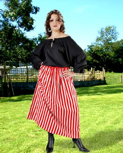 Renaissance Pirate Striped Wench Skirt Costume [Red-White]