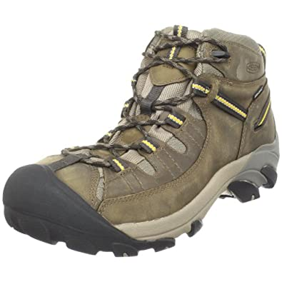 KEEN Men's Targhee II Mid Waterproof Hiking Boot,Black Olive/Yellow,7 M US