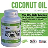 #1 Organic Extra Virgin Coconut Oil Capsules  Raw Unrefined Cold Pressed Extract 100 Percent Pure Coconut Oil Pills 1000 Mg Softgels Diet Supplement to Maximize Performance, Healthy Heart, Body, Skin, Hair & Weight Loss