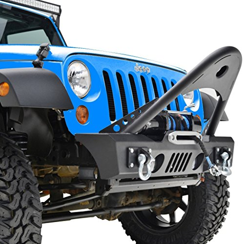 RF Jeep Wrangler JK Black Textured Front Bumper with Stinger and Built In Winch Plate JK