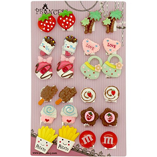 Big Size Generic Cute Lovely Cute Design Fashion Clip-on Earrings, Pack of 12 Pairs (Clip On Earrings For Kids compare prices)