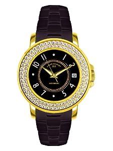 André Belfort 410111 - Reloj analógico de mujer automático con correa de cerámica negra - sumergible a 50 metros