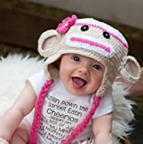 Handmade Crochet Baby sock monkey Hat in Beige and pink color 0-3 months
