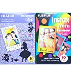 Fujifilm Instax Mini Instant Film 10 Sheets × 2 Packs (Disney Alice in Wonderland & Rainbow) [Komainu-Dou Original Packege]