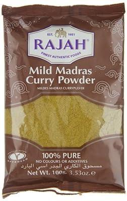 Rajah Currypulver, mild, Madras, 100g, 4er Pack (4 x 100 g Packung) von Rajah bei Gewürze Shop
