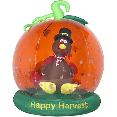 Gemmy 2778092 Airblown Inflatable Whirlwind Globe - Turkey in Pumpkin