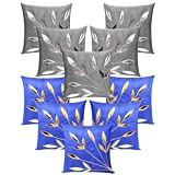 Leaves Patch Cushion Covers Combo Silver & Blue 40 X 40 Cms(10 Pcs Set)