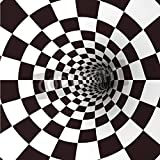 Artzloom Black And White Spiral Tunnel Vector Canvas Art Print With Frame - Size 20.5 Inch X 20.5 Inch