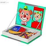 Janod 4505545 - Magnetbox Verrückte Gesichter, 67 Magnete, 12 Karten