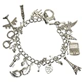 Shades of Grey Inspired Silvertone Charms Stainless Steel Chain Bracelet 687