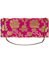 JaipurSe Pink/Golden Ladies Clutch Bag/Purse Party Wear Ladies Evening Clutch Handbag With Drop-in Chain Shoulder...