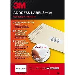 3M PA21100B Etiquettes 63.5 x 38.1 mm Blanc