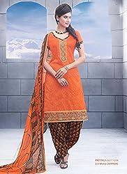 Orange Jacquard Cotton Salwar Kameez (Unstitch)