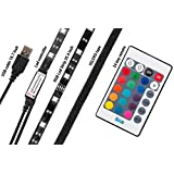 Razon 5V LED Strip, USB light and TV Lighting with VELCRO tape, RGB Color Changing Theater Lighting and TV Backlighting with 24-key Remote and Extension cable 4 pin (reduce tired eyes)