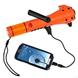 Ivation 9-in-1 Hand Crank Dynamo Rainproof AM/FM Radio, LED Flashlight, SOS Strobe, SOS Siren, Windshield Hammer, Window Breaker, Seatbelt Cutter, Compass, Mobile Device Charger for Car, SUV, Truck, Trailer, Charges via USB or Hand Cranking Handle