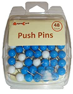 Magna Card Multi-Colored Push Pins, White and Blue Design, 3.3 x 1.3 x 4.2 inches, two packs of 48 (47616)