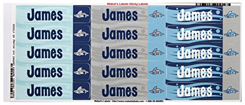 Mabel'S Labels 40845055 Peel And Stick Personalized Labels With The Name James And Shark Icon, 45-Count