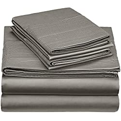 Pinzon 400-Thread-Count Pleated Hem Egyptian Cotton Sheet Set - King, Sterling