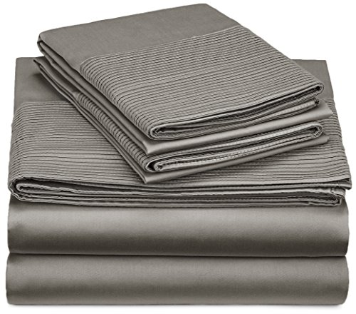 Pinzon 400-Thread-Count Pleated Hem Egyptian Cotton Sheet Set - King, Sterling (King Bed Sheets Egyptian Cotton compare prices)
