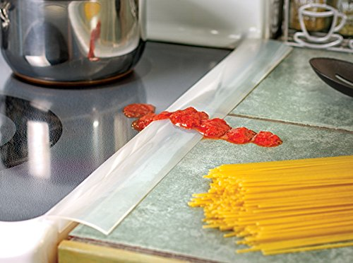Stove Top Cover Oven Seam Protector Set of 2 - Heat Resistant Silicone Strip Protects Covers Guards Space Between Oven Top and Counter - Gap Stuffing Reduces Mess Stops Spills by Perfect Life Ideas
