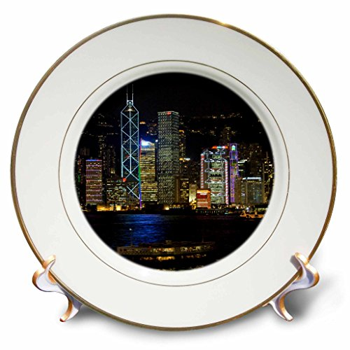 3dRose cp_71143_1 Hong Kong, Victoria Harbor, City Skyline-AS07 CMI0435-Cindy Miller Hopkins-Porcelain Plate, 8-Inch