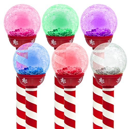 6pk led solar pathway lights christmas crackle color changing holiday landscape outdoor garden walkway lighting - Christmas Pathway Decorations