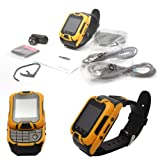 Kenxinda 2 Dual SIM Slider Watch Mobile with Bluetooth Headset & Camera (Yellow) + Bonus DMG Wristband