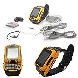 Kenxinda 2 Dual SIM Slider Watch Mobile With Bluetooth Headset & Camera (Yellow) + Bonus DMG Wristband