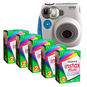 Fujifilm MINI INSTAX 7S Camera and Film Kit (Blue Trim) with 5 Twin Packs of MINI INSTAX Film