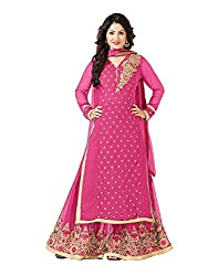 VIHA BabyPink Georgette Unstitched Plazzo Dress Material