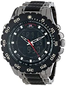 U.S. Polo Assn. Men's Analog-Digital Dial Gun Metal Bracelet Watch Black US8170