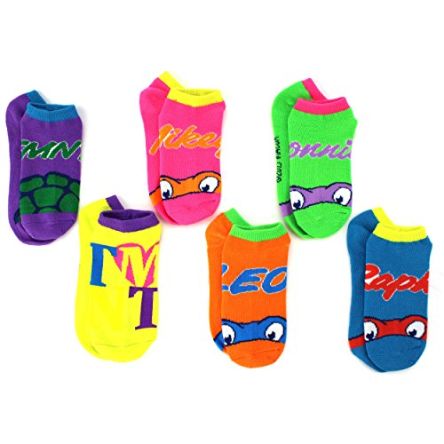 TMNT Teenage Mutant Ninja Ninja Turtles Womens Girls 6pk Ankle Socks (6-8 Youth (Shoe Size: 10.5-4))
