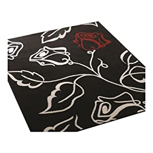 3 Sizes Available - Element - Solo Black/Red/Cream - Good Quality Rug by Flair Rugs