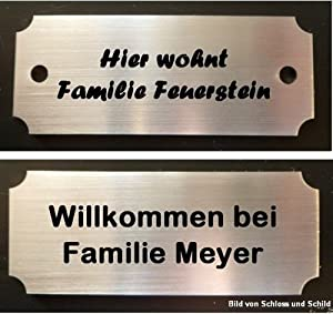 namensschild t rschild edelstahl 70x28mm schriftwahl in selbstklebend und mit bohrl cher. Black Bedroom Furniture Sets. Home Design Ideas