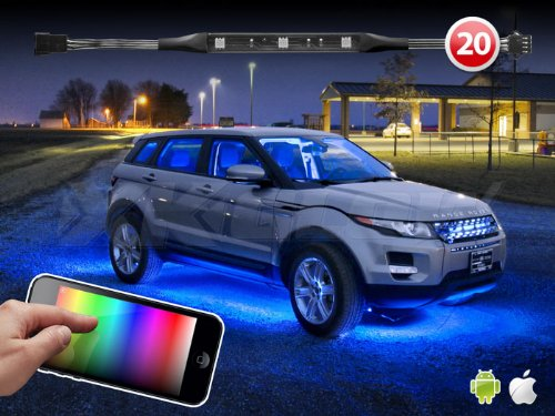 20 Strip Ios Android App Wifi Control Led Underglow Undercar Lighting Kit 3 Million Color Music Sync Function 200 Presets Compatible W/ Iphone Ipad Ipod Android Phones Xk Carbon Series