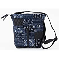 Quilted Purse, Handbag, Wallet - Dark Blues and White Claremont Hipster