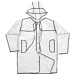 Phenovo Transparent Clear Rain Coat Festival Camping Raincoat Mac for Women