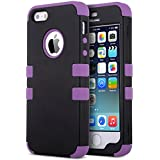 ULAK 3 in 1 Shield Case for Apple iPhone 5s 5 Hybrid 3 Layer Rugged Heavy Duty Hybrid Hard PC with Silicone Shell Inside Case (Black+Purple)