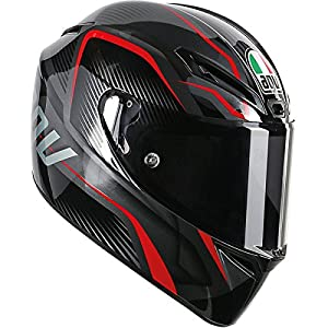 AGV GT-Veloce TXT Full Face Motorcycle Helmet (Black/Red, Medium-Small) by AGV