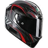 AGV GT-Veloce TXT Full Face Motorcycle Helmet (Black/Red, Medium-Large)