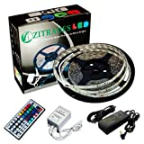 Zitrades 16.4 Ft 3528 Waterproof 300leds,RGB Color Changing Kit with LED Flexible Strip+44key Controller+IR Remote box and 12 Volt 4 Amp Power Supply with DC jack 5.5x2.1mm ,Waterproof By Zitrades